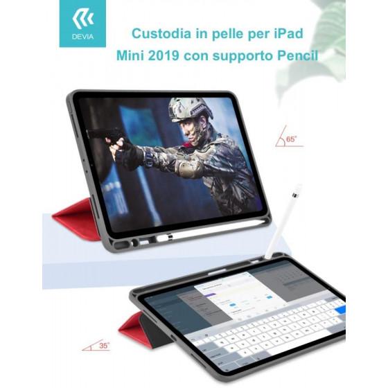 Custodia pelle per iPad Mini 2019 con supporto Pencil Blu