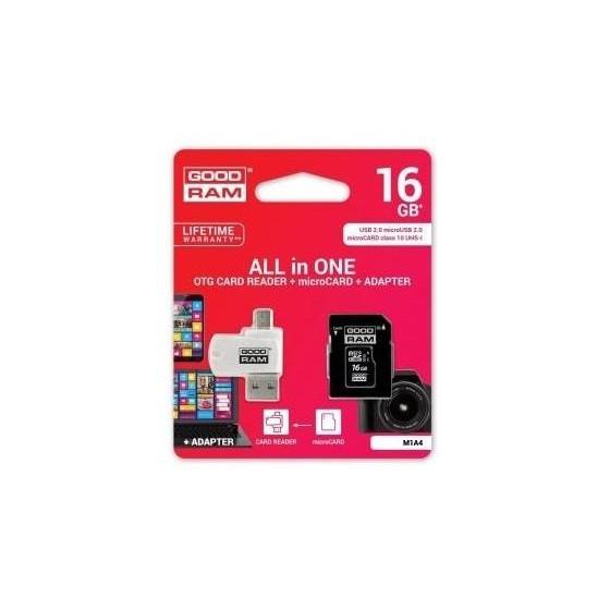 microSD 16GB CARD class 10 + adpter + card reader - blister