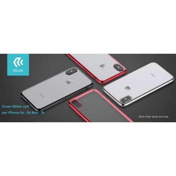 Cover Glitter soft con bordo Rosso per iPhone Xs Max 6.5