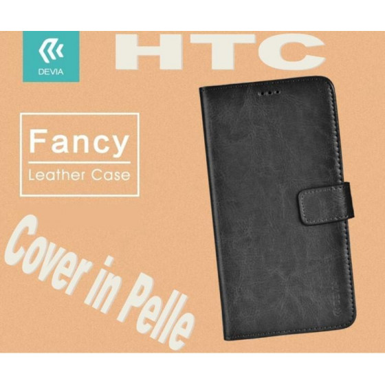 Custodia a Libro in Pelle Per HTC M10 Nera