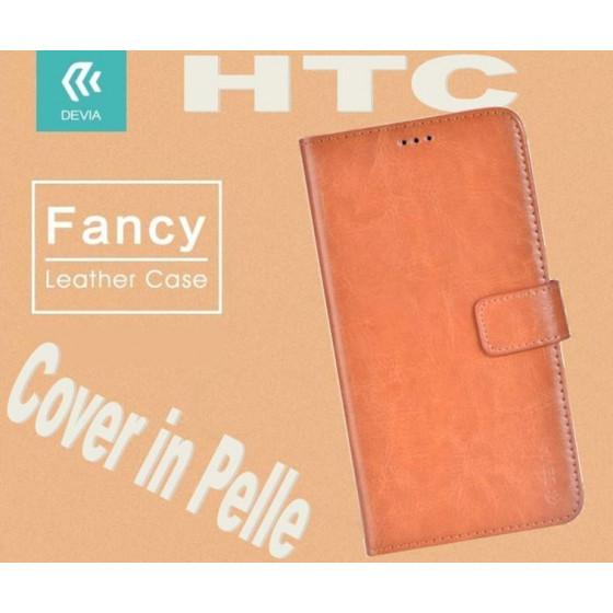 Custodia a Libro in Pelle Per HTC M10 Marrone