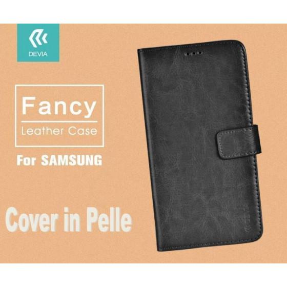 Cover a Libro in Pelle Nera Fancy per Samsung J7 2016