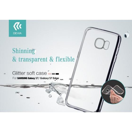 Cover Glitter Soft per Samsung Galaxy S7 Edge Argento