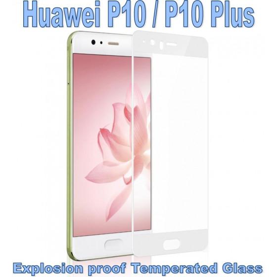 Pellicola Vetro Temperato Full per Huawei P10 Plus Bianca