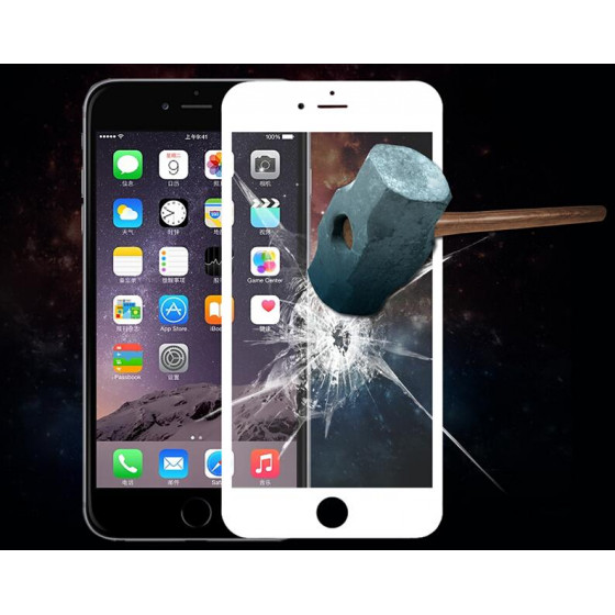 Pellicola Full Screen Vetro iPhone 6/6s Plus con Curve Bianc