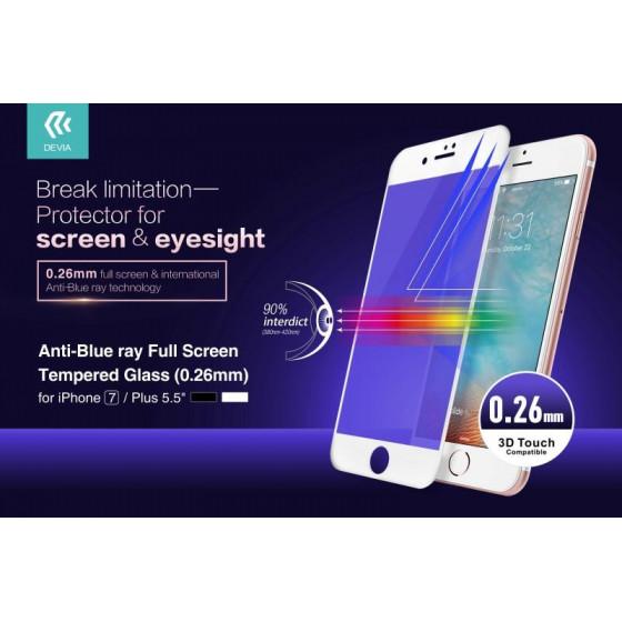 Anti-Blue Ray Full Vetro Temperato per iPhone 7 Plus Nera