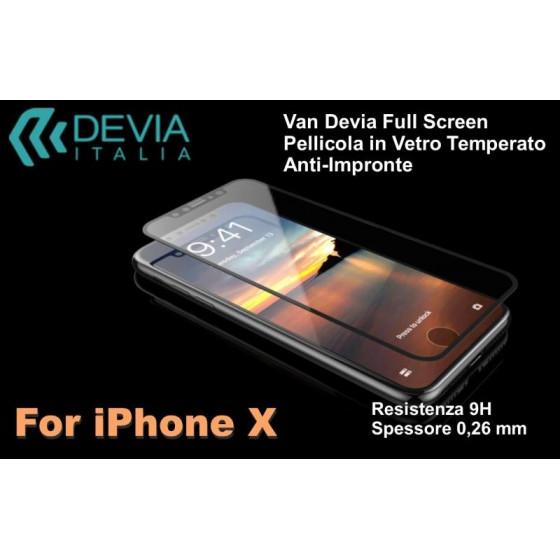 Pellicola vetro temperato Anti Imp Full Screen iPhone X Nera