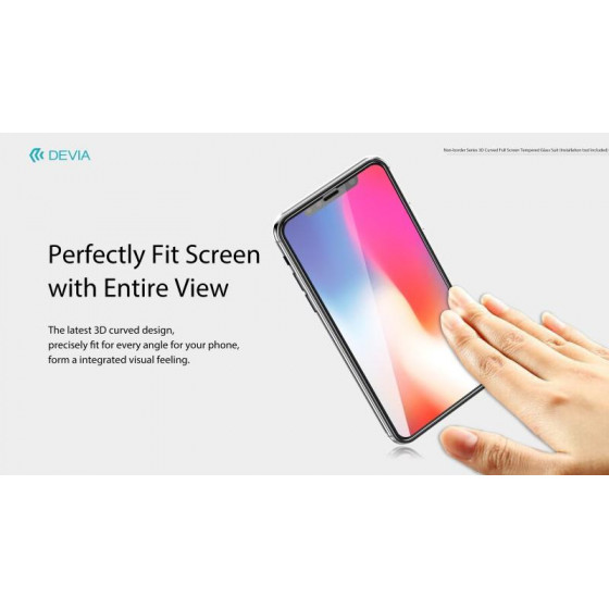 Vetro temperato 3D invisibile e antipolvere per iPhone X
