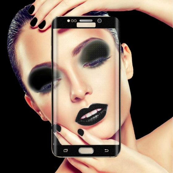 Pellicola Vetro Temperato con Curve per Galaxy S6 Edge Nera