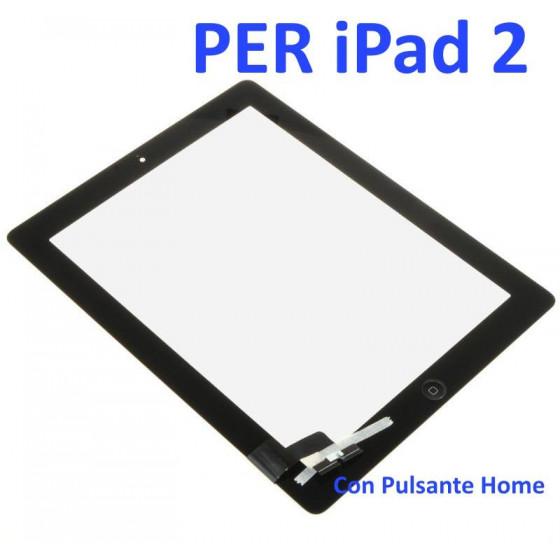 Touch Screen con Pulsante Home e Adesivo per iPad 2 Nero