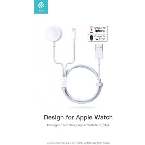 Caricatore Wireless per SmartWatch Apple 2 in 1 Bianco