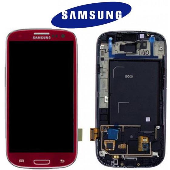 LCD + TOUCH SCREEN ORIGINALE (SVC/RW) PER I9300 ROSSO 13630C