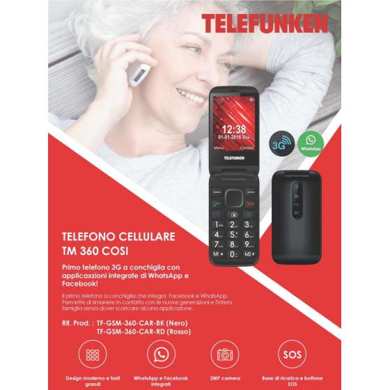 Telefono TM 360 Nero Telefunken Con Facebook e WhatsApp